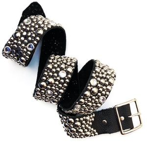 Sky Brand Bling Studded Black Leather Belt